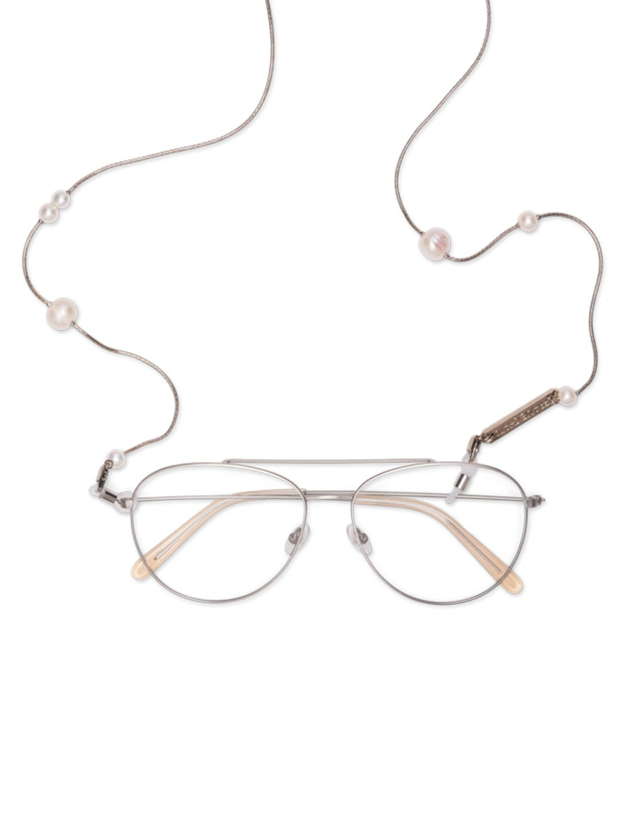 DROP PEARL glasses chain in White Gold