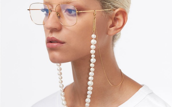 PEARLY PRINCESS glasses chain in Yellow Gold