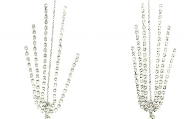 DISCO WHITE CRYSTAL glasses chain in WHITE GOLD