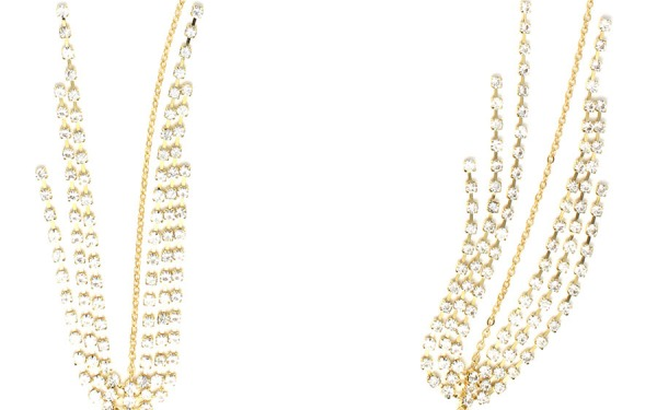 DISCO WHITE CRYSTAL glasses chain in Yellow Gold