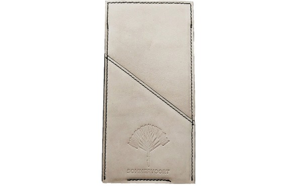 White Linen pocket leather glasses case