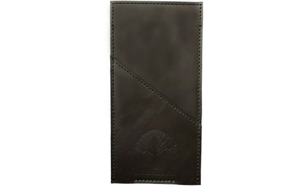 Dark Monstera Green pocket leather glasses case