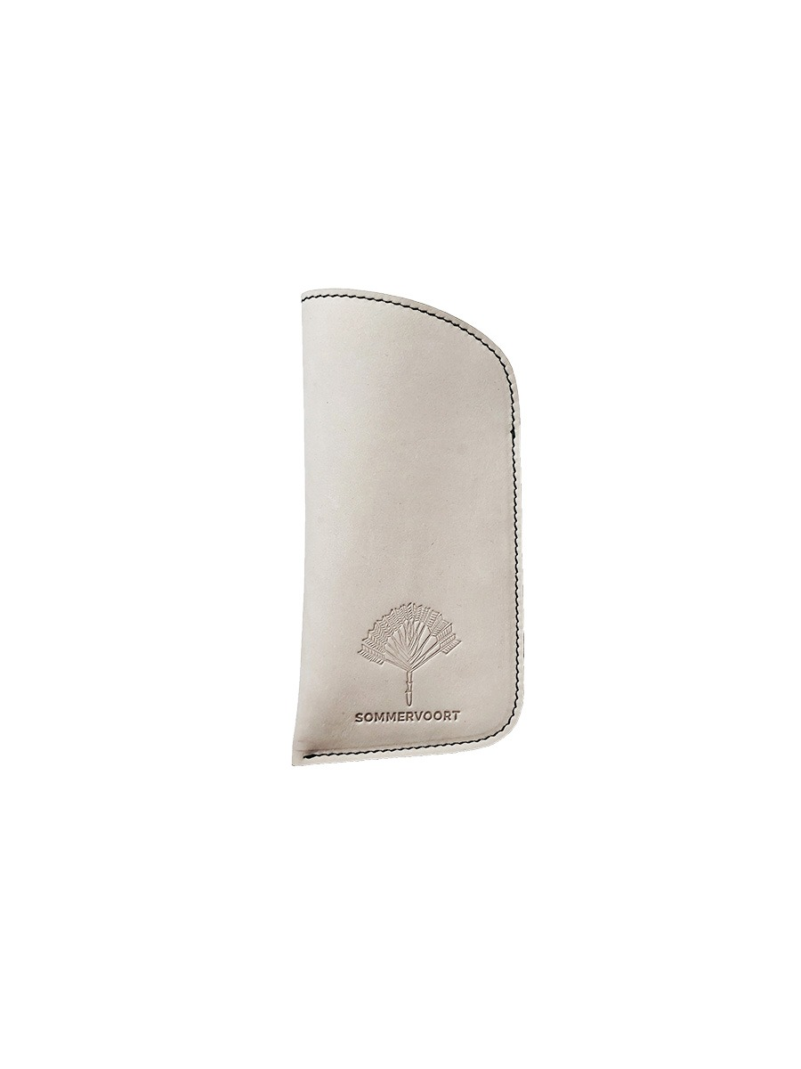 White Linen classic leather glasses case