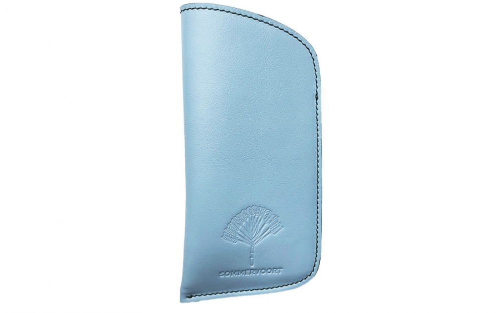Blue Cloudless Sky classic leather glasses case